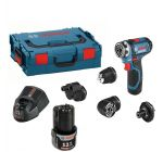 Bosch GSR 12V-15 FC 12V Li-Ion accu boor-/schroefmachine set (2x 2.0Ah accu) in L-Boxx incl. 4 opzetstukken - 06019F6000