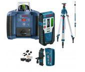 Bosch GRL 300 HVG SET rotatie laser (groen) in koffer + LR 1G Ontvanger & BT 300 HD Statief & GR 240 Meetlat