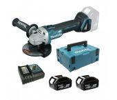 Makita DGA505RTJ 18V Li-Ion Accu haakse slijper set (2x 5.0Ah accu) in Mbox - 125mm - koolborstelloos