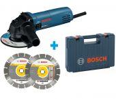 Bosch GWS 850 C Haakse slijper incl. 2 diamantzaagbladen in koffer - 850W - 125mm - 060137779A