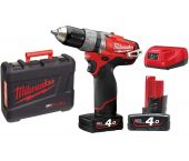 Milwaukee M12 CPD-402C FUEL 12V Li-Ion accu klopboor-/schroefmachine set (2x 4.0Ah accu) in koffer - koolborstelloos - 4933440375