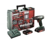 Metabo BS 18 18V Li-Ion accu boor-/schroefmachine set (2x 2.0Ah accu) in koffer incl. 73 delige accessoire set - 602207880