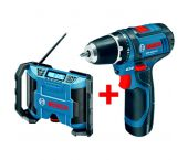 Bosch GSR 10,8-2-LI 10,8V schroefmachine + GML 10,8 bouwradio set (2x 2.0Ah accu) in L-Boxx - 0601429204