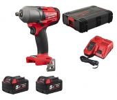 "Milwaukee M18 FMTIWF12-502X 18V Li-Ion accu Slagmoersleutel set (2x 5,0Ah accu) in HD Box - 1/2"" - 610Nm - 4933459185"