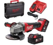 Milwaukee M18 CAG125X-502X 18V Li-Ion Accu haakse slijper set (2x 5.0Ah accu) in HD BOX - 125mm - koolborstelloos - schuifschakelaar - 4933448866