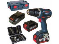 Bosch GSR 18 V-EC 18V Li-Ion accu boor-/schroefmachine set (2x 4.0Ah accu) in L-Boxx incl. 43 delige accessoire set - koolborstelloos - 0615990GB4