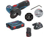 Bosch GWS 10,8-76 V-EC SET 10.8V Li-Ion Accu haakse slijper set (2x 2.5Ah accu) in L-Boxx - 76mm - koolborstelloos - 06019F2002