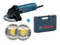 Bosch GWS850C Haakse slijper incl. 2 diamantzaagbladen in koffer - 850W - 125mm - 060137779A