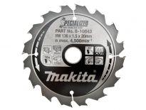 Makita B-10643 Specialized Cirkelzaagblad  - 136 x 20 x 16T - Hout