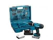 Makita HP457DWE10 18V Li-Ion accu klopboor-/schroefmachine set (2x 1.3Ah accu) in koffer incl. 74 delige accessoire set